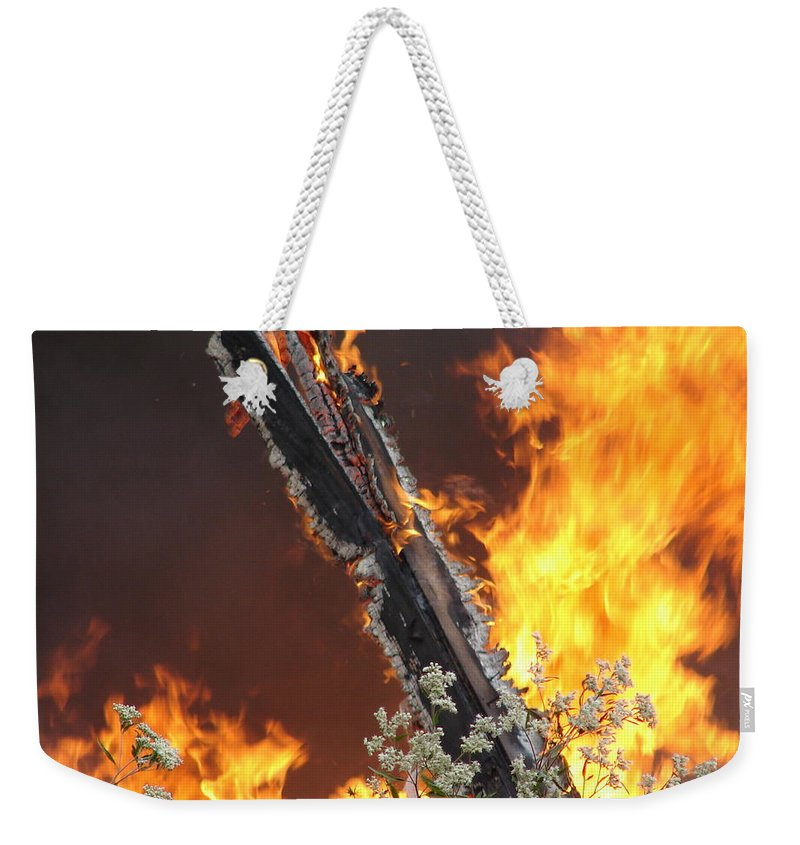 Fire Wood Flames Flowers Weekender Tote Bag featuring the photograph Flames Of Age by Luciana Seymour