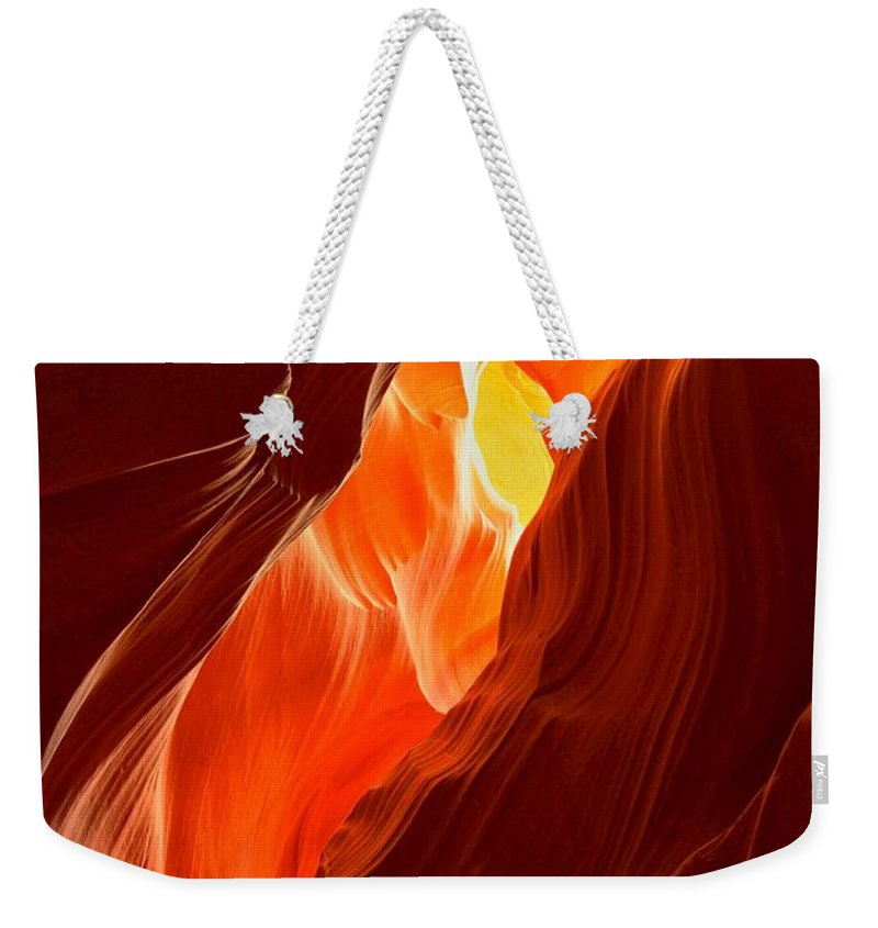 Upper Antelop Weekender Tote Bag featuring the photograph Flames Under Arizona by Adam Jewell