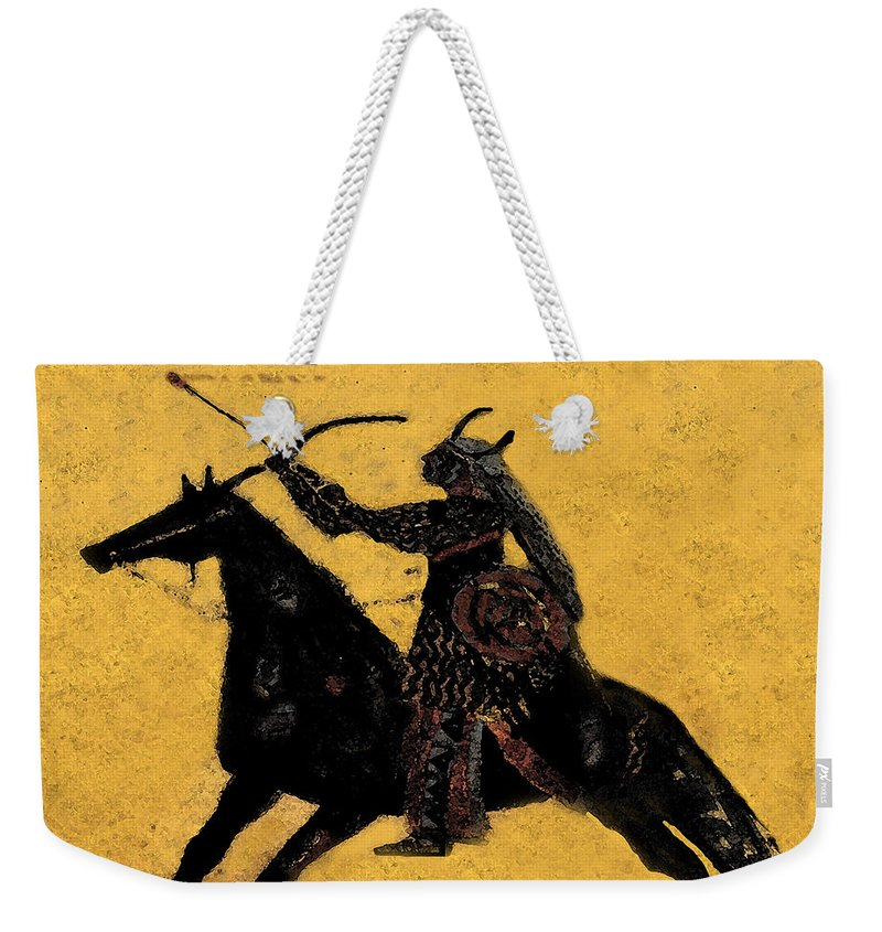 Flaming Arrow Weekender Tote Bag featuring the painting Flaming Arrow by David Lee Thompson