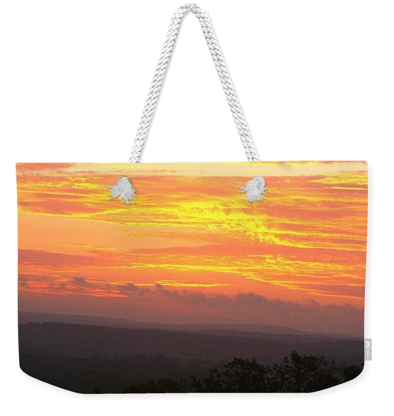 Sunrise Weekender Tote Bag featuring the photograph Flaming Autumn Sunrise by Nadine Rippelmeyer