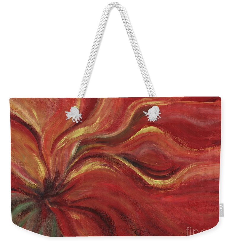 Red Weekender Tote Bag featuring the painting Flaming Flower by Nadine Rippelmeyer