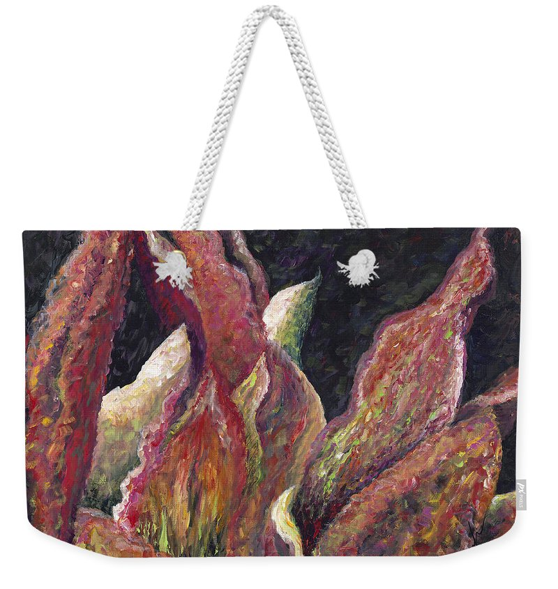 Leaves Weekender Tote Bag featuring the painting Flaming Leaves by Nadine Rippelmeyer