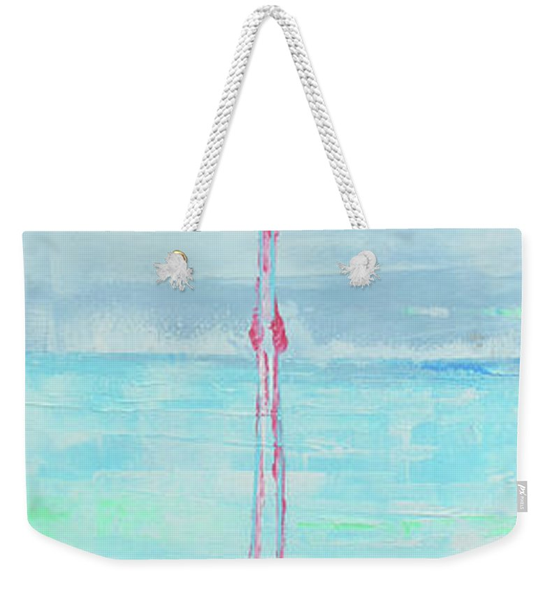 Flamingo Weekender Tote Bag featuring the painting Flamingo 2 by Paola Correa de Albury