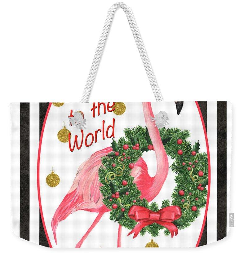 Flamingo Weekender Tote Bag featuring the painting Flamingo Amore 2 by Debbie DeWitt