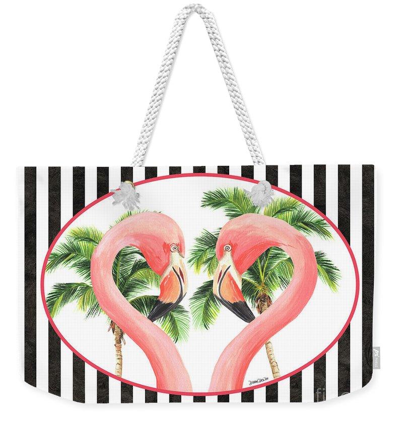 Flamingo Weekender Tote Bag featuring the painting Flamingo Amore 5 by Debbie DeWitt