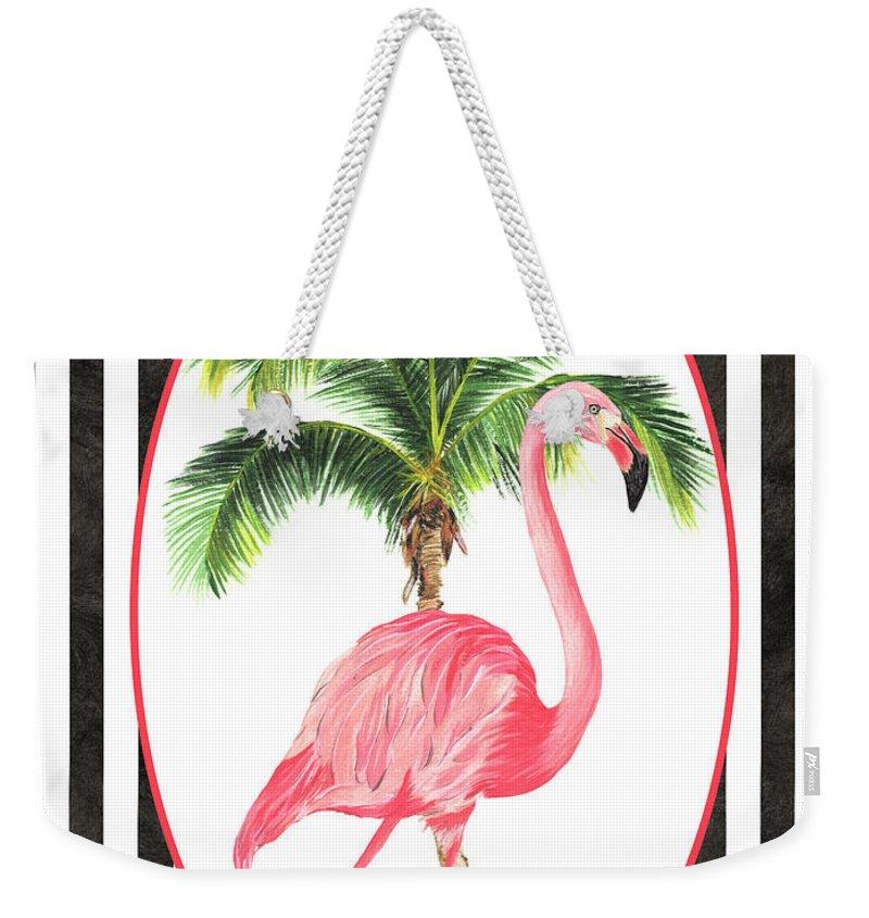 Flamingo Weekender Tote Bag featuring the painting Flamingo Amore 7 by Debbie DeWitt