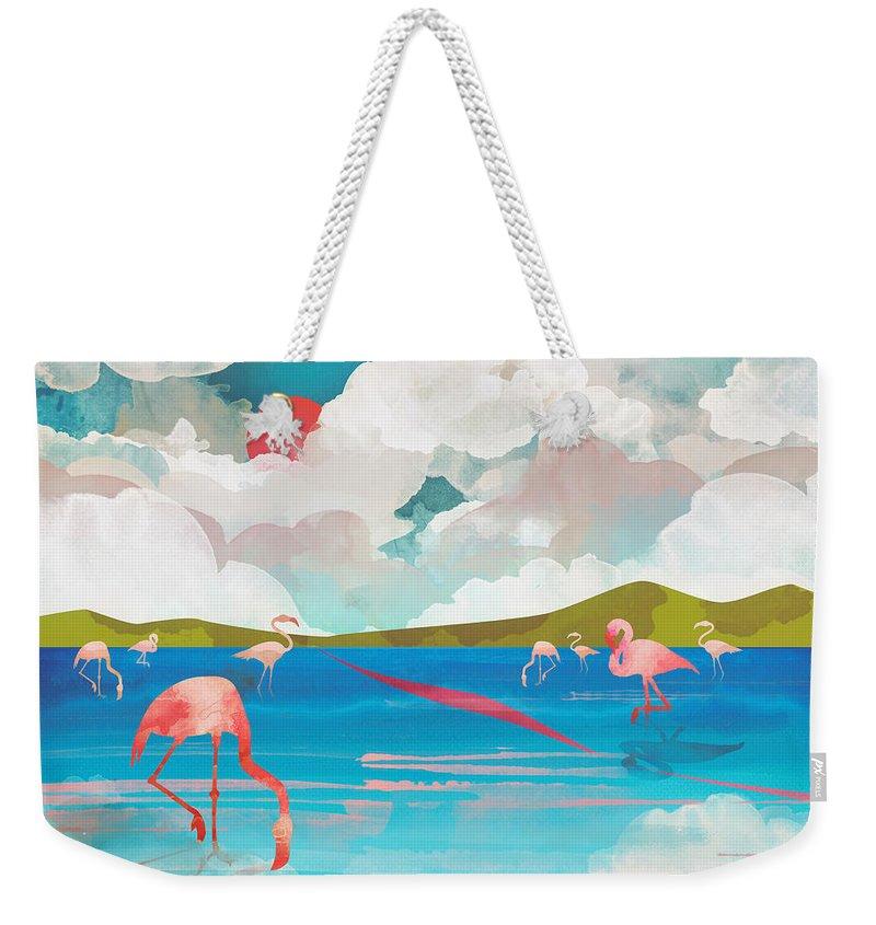 Flamingo Weekender Tote Bag featuring the digital art Flamingo Dream by Spacefrog Designs