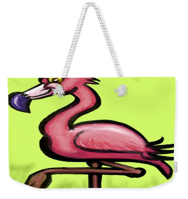 Flamingo Weekender Tote Bag featuring the painting Flamingo by Kevin Middleton