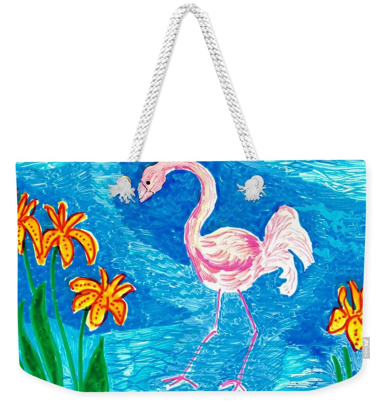 Sue Burgess Weekender Tote Bag featuring the painting Flamingo by Sushila Burgess
