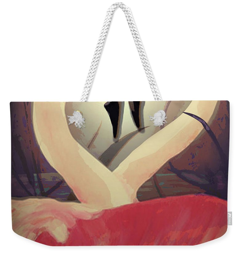 Flamingos Weekender Tote Bag featuring the painting Flamingos by Larry Rice