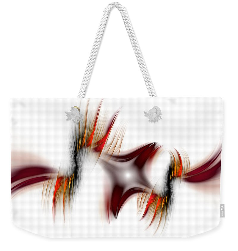 Abstract Weekender Tote Bag featuring the digital art Flamme Flamme by Georgiana Romanovna
