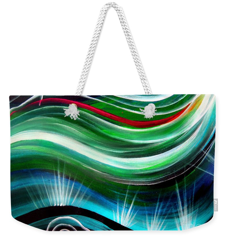 Abstract Weekender Tote Bag featuring the painting Flashes In Memory. Spring by Sofia Metal Queen