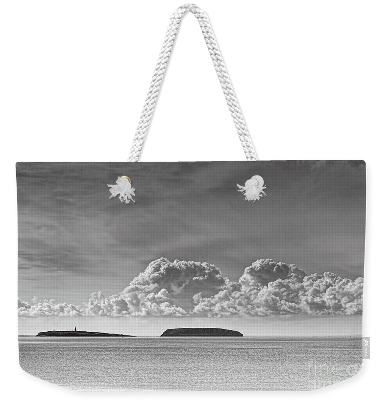 Flat Holm Weekender Tote Bag featuring the photograph Flat Holm And Steep Holm Mono by Steve Purnell