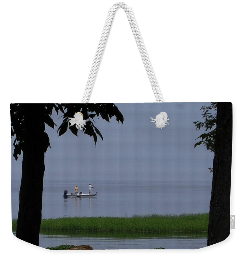 Fishing Weekender Tote Bag featuring the photograph Flat Water Fishing by Lisa Kane
