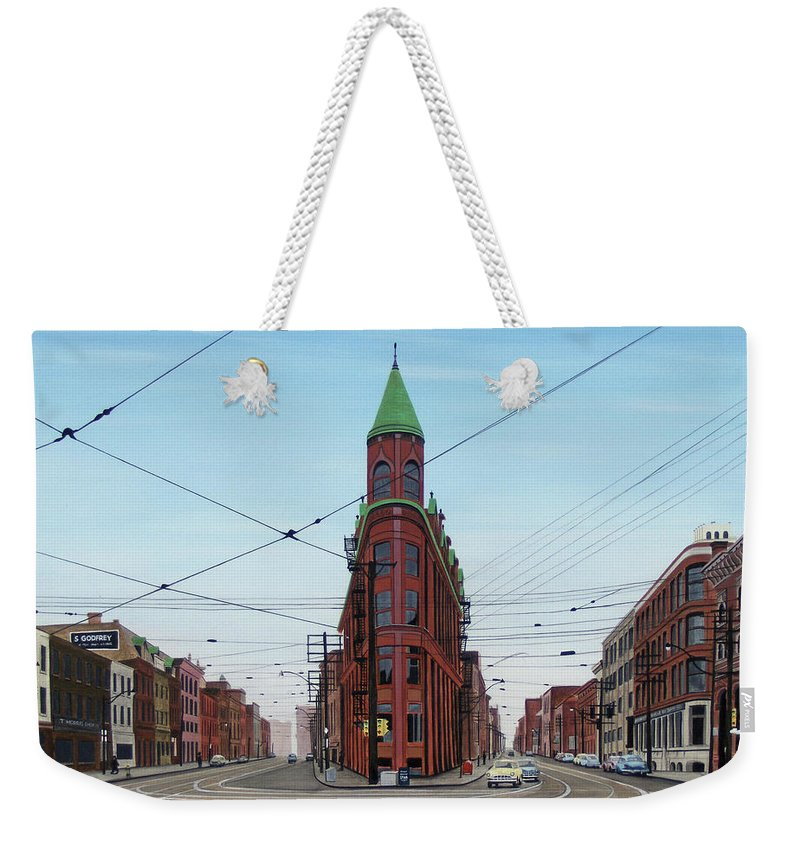 Streetscapes Weekender Tote Bag featuring the painting Flatiron Building 1955 by Kenneth M Kirsch