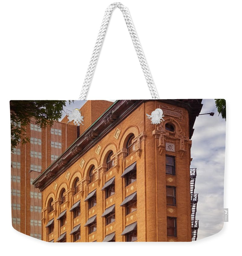 Joan Carroll Weekender Tote Bag featuring the photograph Flatiron Building Fort Worth by Joan Carroll