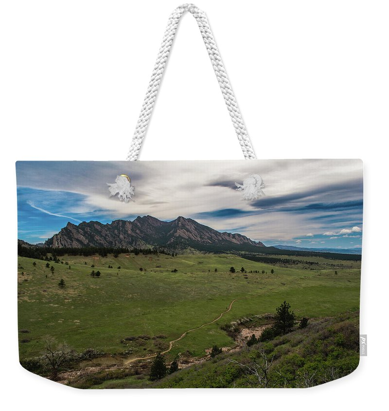 Artisans Weekender Tote Bag featuring the photograph Flatirons From South Trails by Cary Leppert