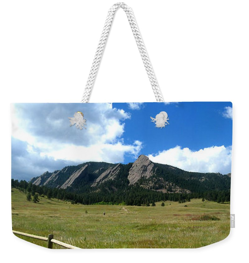 Flatiron Weekender Tote Bag featuring the photograph Flatirons Panorama by Thomas Marchessault