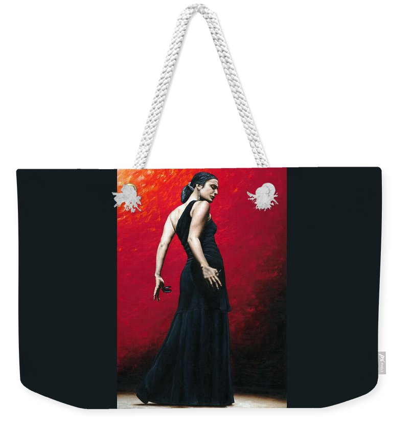 Dance Weekender Tote Bag featuring the painting Flemenco Arrogancia by Richard Young