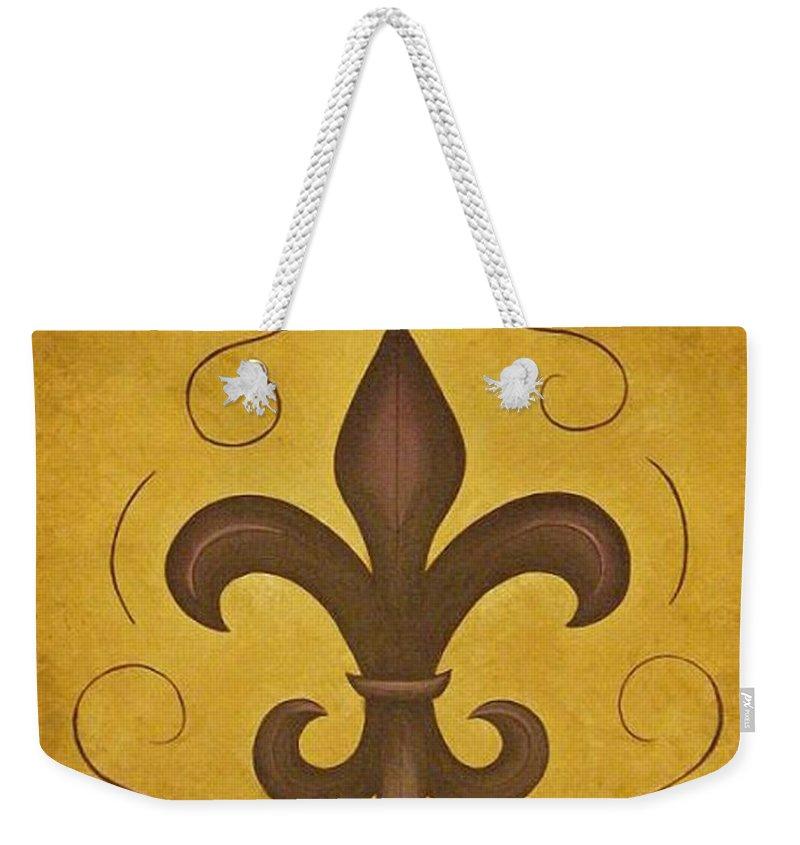 Fleur De Lis Weekender Tote Bag featuring the painting Fleur De Lis II by Valerie Carpenter