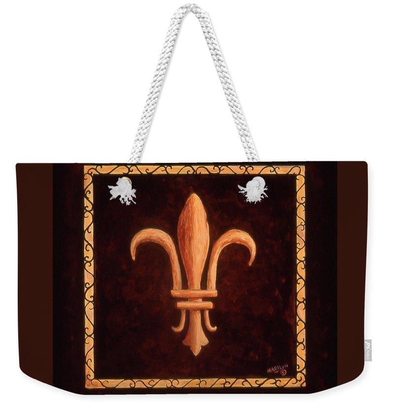 France Weekender Tote Bag featuring the painting Fleur De Lys-clovis by Marilyn Dunlap