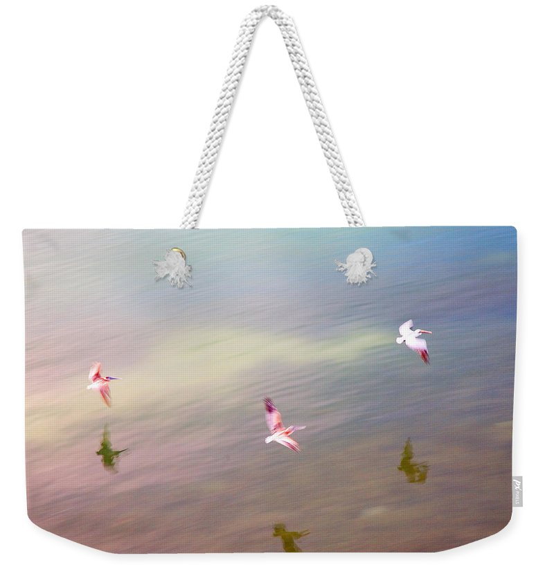 Pelicans Weekender Tote Bag featuring the photograph Flight Impressions by Mal Bray