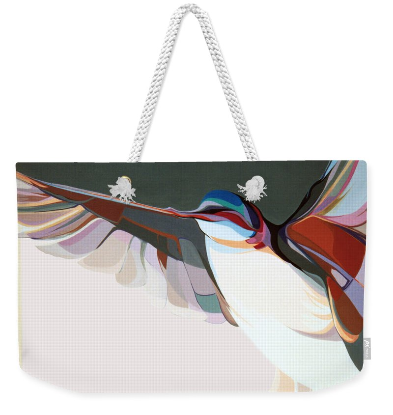 Abstract Weekender Tote Bag featuring the painting Flight Of Fancy by Marlene Burns