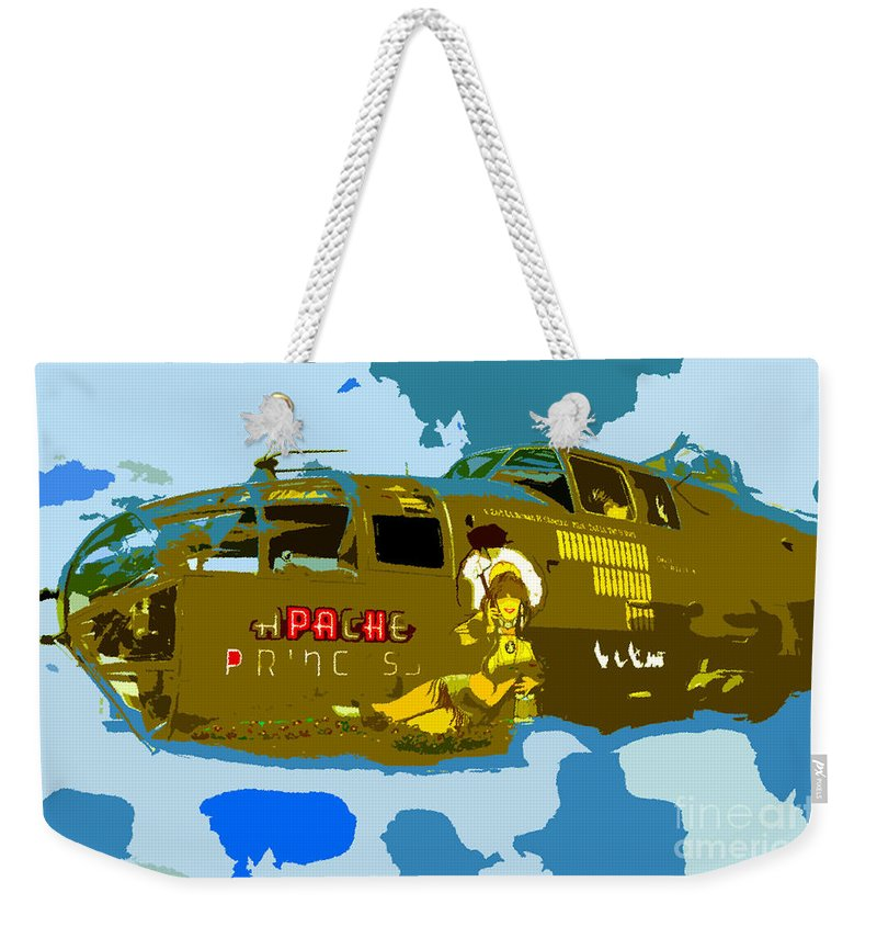 Bomber Weekender Tote Bag featuring the painting Flight Of The Apache Princess by David Lee Thompson