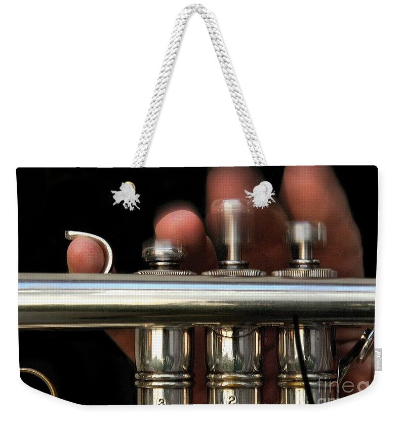 Trumpet Weekender Tote Bag featuring the photograph Flight Of The Bumblebee by Dan Holm