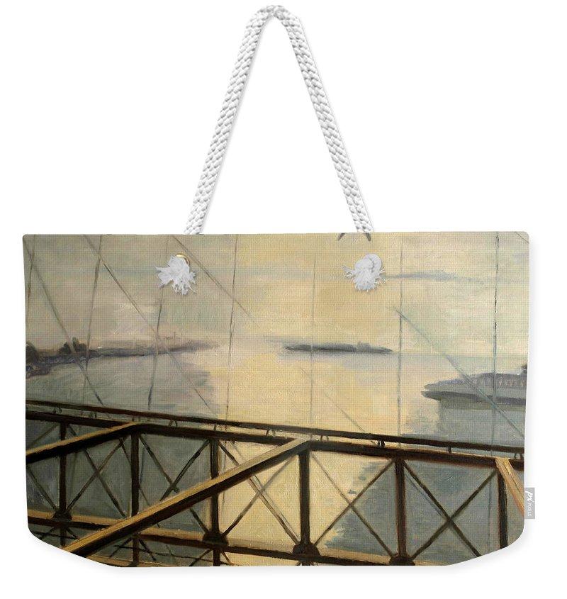 Darius Weekender Tote Bag featuring the painting Flight by Raimonda Jatkeviciute-Kasparaviciene