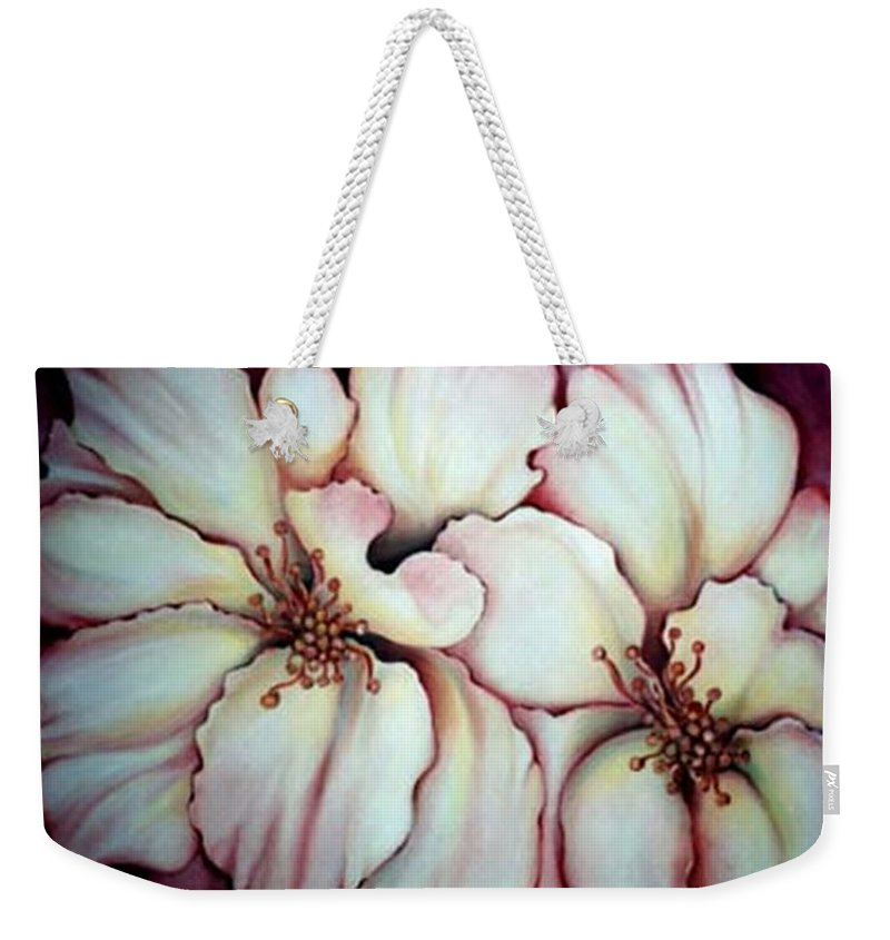White Flower Weekender Tote Bag featuring the painting Flighty Floral by Jordana Sands