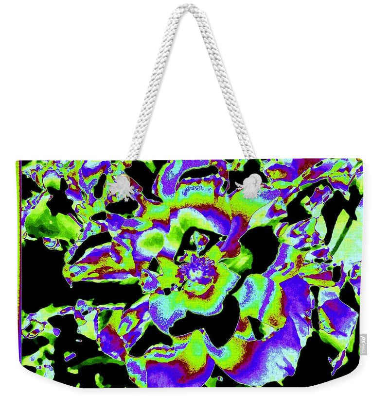 Abstract Weekender Tote Bag featuring the digital art Flin Flon Rose by Will Borden