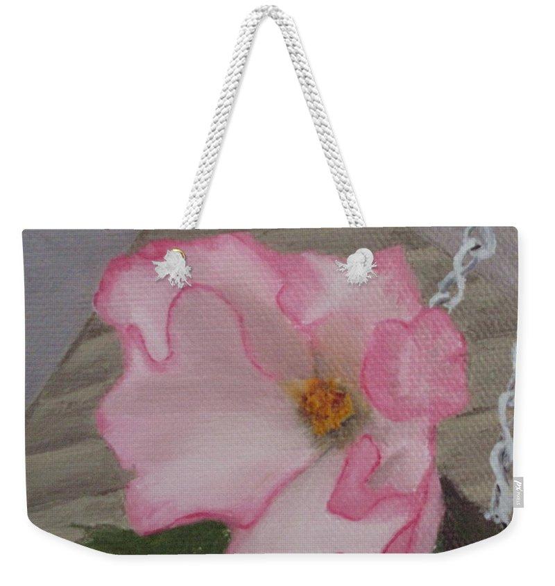 Flower Weekender Tote Bag featuring the painting Flirty Begonia by Lea Novak