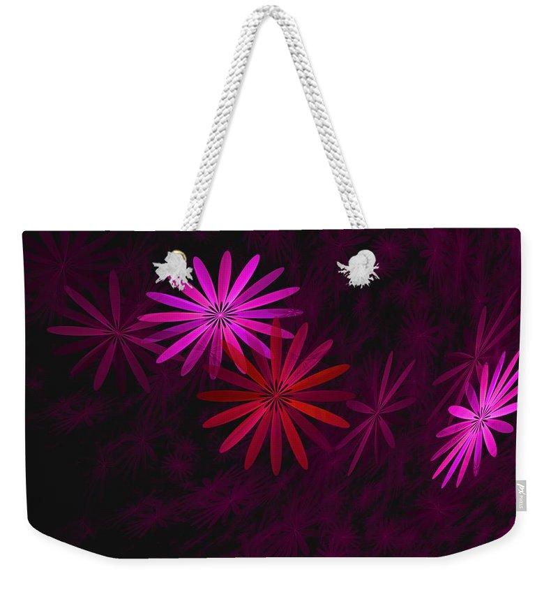 Fantasy Weekender Tote Bag featuring the digital art Floating Floral - 006 by David Lane