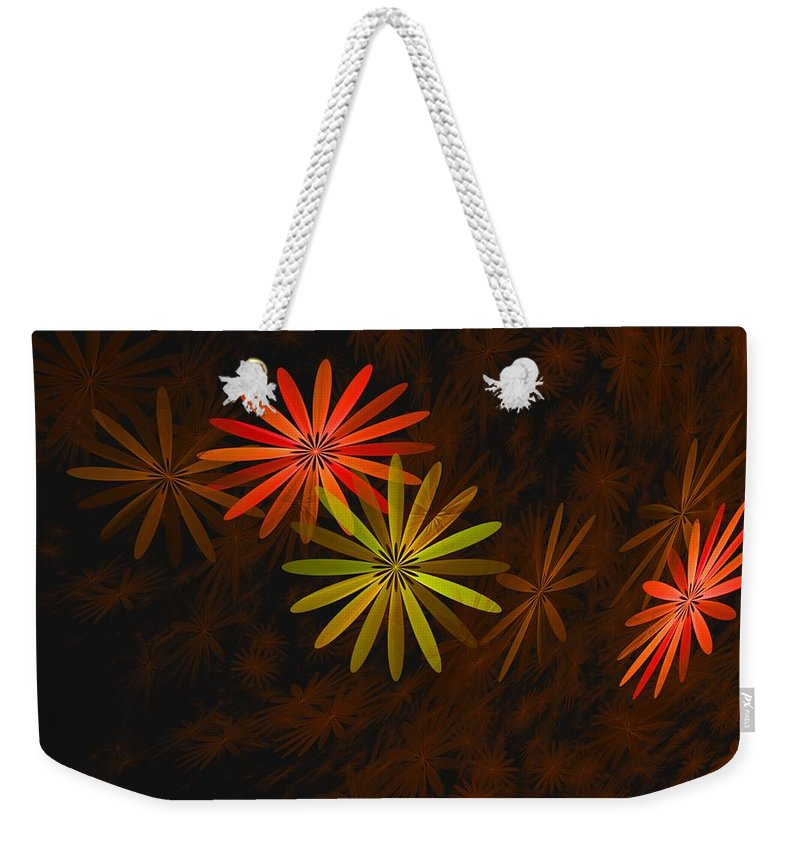 Digital Photography Weekender Tote Bag featuring the digital art Floating Floral-008 by David Lane