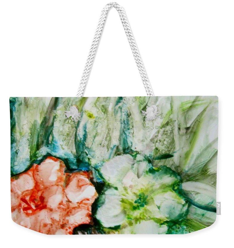Flower Weekender Tote Bag featuring the painting Floating Flowers 3 by Laurie Morgan