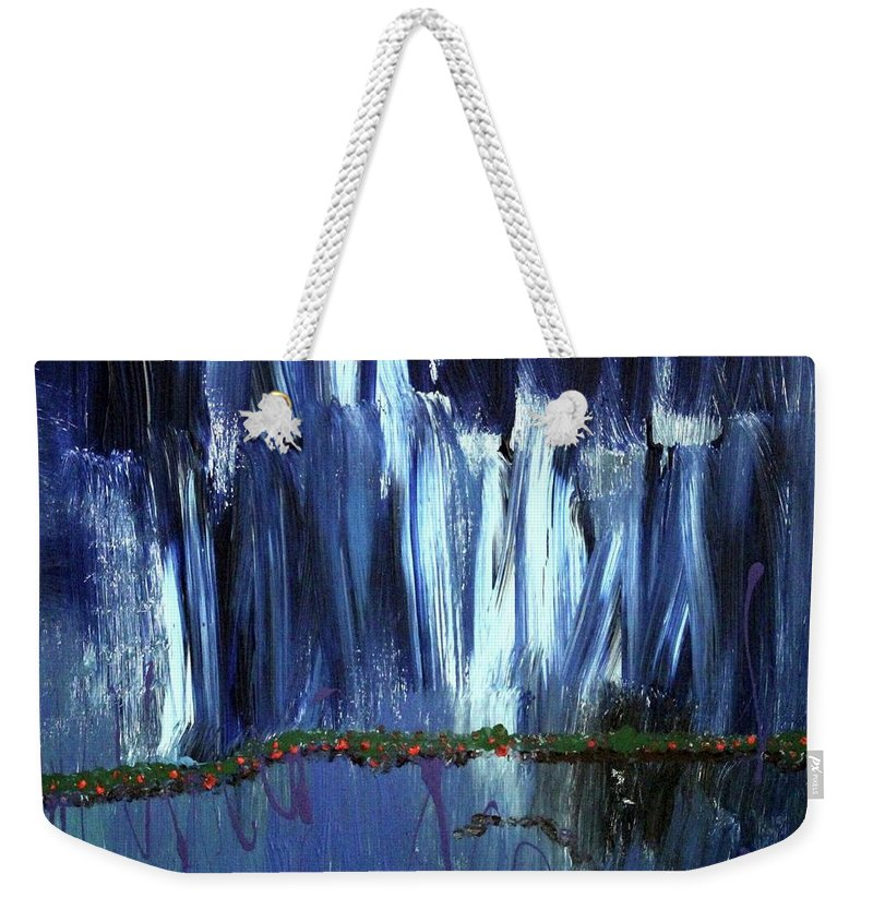 Blue Weekender Tote Bag featuring the painting Floating Gardens by Pam Roth O'Mara