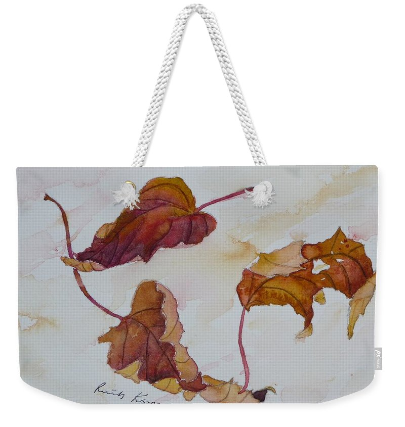 Fall Weekender Tote Bag featuring the painting Floating by Ruth Kamenev