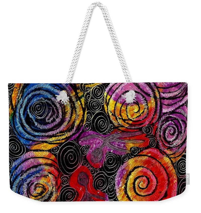 Abstract Weekender Tote Bag featuring the drawing Floating by Sarah Loft