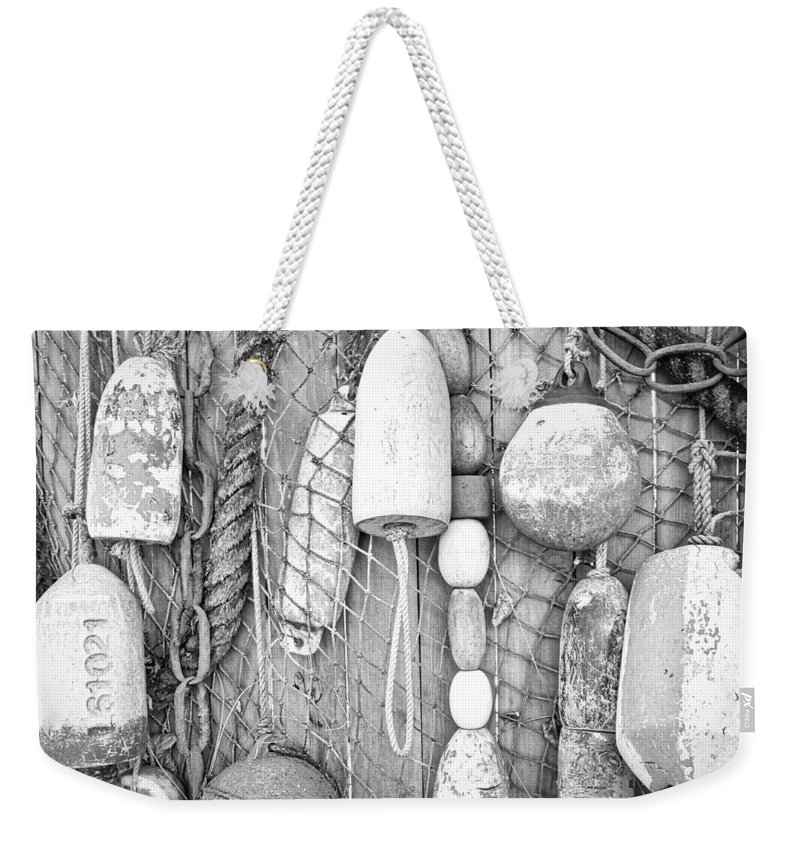 Fishing Floats Weekender Tote Bag featuring the photograph Floats Ropes Chains N Thangs by David Coleman