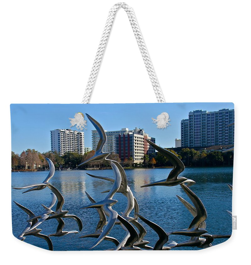 Lake Eola Weekender Tote Bag featuring the photograph Flock Of Birds by Denise Mazzocco