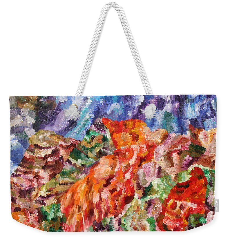 Fusionart Weekender Tote Bag featuring the painting Flock by Ralph White