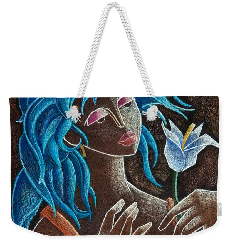 Puerto Rico Weekender Tote Bag featuring the painting Flor y viento by Oscar Ortiz