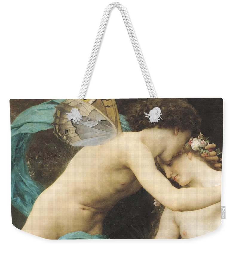 Flora And Zephyr Weekender Tote Bag featuring the painting Flora and Zephyr by William Adolphe Bouguereau