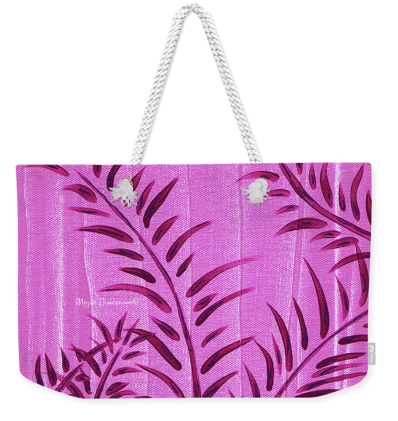 Floral Weekender Tote Bag featuring the painting Flora Fauna Tropical Abstract Leaves Painting Magenta Splash By Megan Duncanson by Megan Duncanson