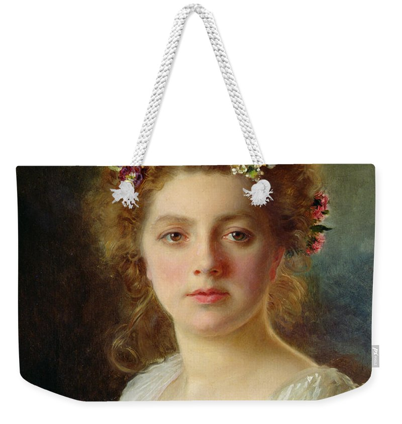 Female; Portrait; Flowers; Flower; Garland; Decollete; Beauty; Young; Rural; Tess; Hair; Regard; Staring; Woman; Gustave Jacquet Weekender Tote Bag featuring the painting Flora by Gustave Jacquet