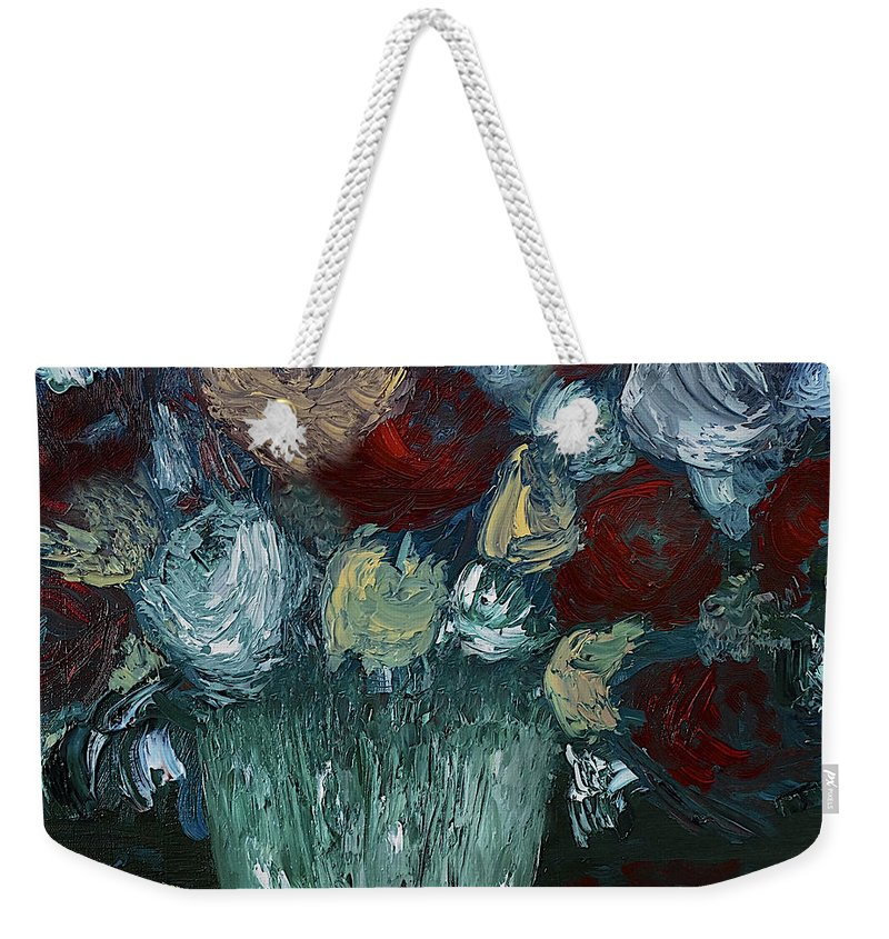 Flowers Weekender Tote Bag featuring the painting Floral Arrangement by Dick Bourgault