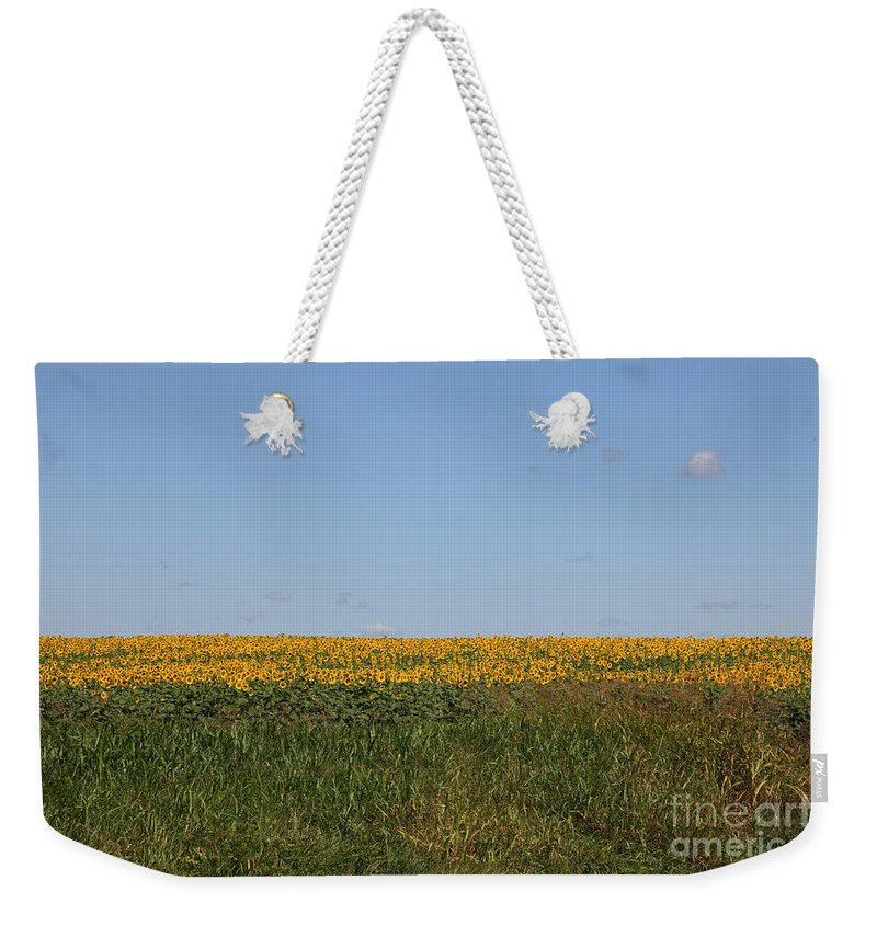 Sunflowers Weekender Tote Bag featuring the photograph Floral Blur by Amanda Barcon