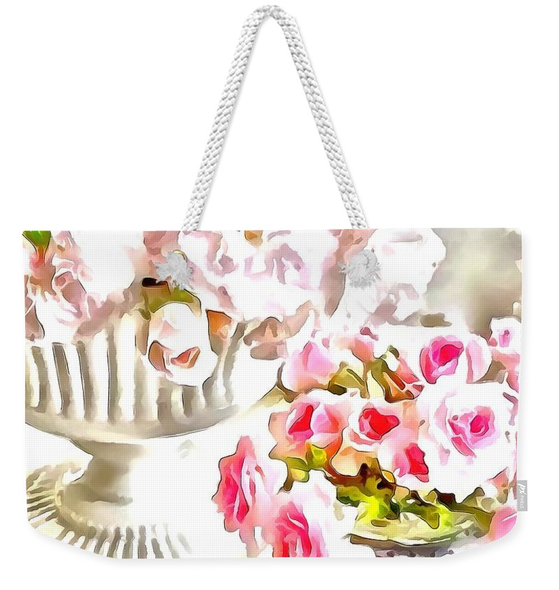 Floral Bouquets Pink Roses Weekender Tote Bag featuring the painting Floral Bouquets Pink Roses by Catherine Lott
