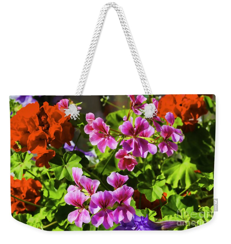 Abstract Weekender Tote Bag featuring the photograph Floral Design 5 Dark by Joe Geraci